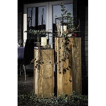 Mobili Rebecca 3er-Set Kerzenständer Kerzenhalter braun Shabby Glas Küche Garten