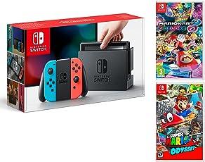 Nintendo Switch Konsole 32Gb Neon-Rot/Neon-Blau + Super Mario Odyssey + Mario Kart 8 Deluxe - Super Mario Pack