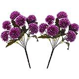 Fourwalls Chrysanthemum Ball Flower Bouquet (49 cm, Dark Purple, 7 Branches, Set of 2)
