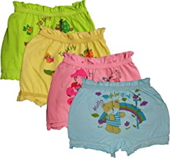 UCARE Pure Cotton Printed Multi Color Bloomer/Panties for Girls & Kids (1006-Packof4)