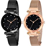 Acnos Black Round Diamond Dial with Latest Generation Purple & Rosegold Magnet Belt Analogue Watch for Women Pack of - 2 (DM-