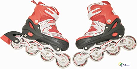 Elektra Inline Skate Shoes Adjustable Size 34 to 37 - Age Group 05 to 10 Years (Assorted Color)