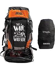 Mufubu Presents Get Unbarred 55 LTR Rucksack for Trekking, Hiking with Shoe Compartment and Waterproof Rain Cover (Black/Orange)