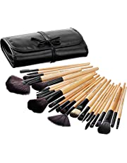 Amazon Brand - Solimo Makeup Brush Set With PU Leather Case (24 Pieces)