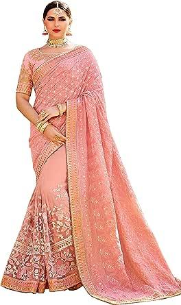 Arohi Designer Women's Jamawar Silk Saree With Un-stitched Blouse (KimoraPink_Salmon Pink)