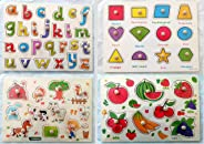 4pcs/Set of Montessori Wooden Puzzle Baby Enlightenment Education Toys, Hand Grab Board Set Educational Wooden Toy Puzzle Ch