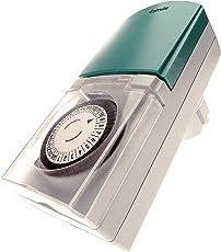 4smile Zeitschaltuhr Außenbereich Tempo – 3 Stück mechanische Zeitschaltuhr Steckdose, IP44 spritzwassergeschützt, hohe Schaltleistung, mit Kinderschutz, grau-grün