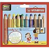 Buntstift, Wasserfarbe & Wachsmalkreide - STABILO woody 3 in 1 - 10er Pack mit Spitzer - mit 10 verschiedenen Farben