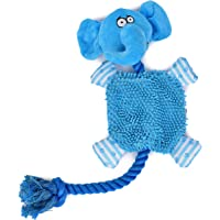 Goofy Tails Elephant Crinkle Squeaky Dog Toy with Rope for Small and Medium Breeds (Blue)