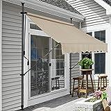 Pro-Tec Klemmmarkise Sandfarben 300 x 120 x 200-300cm Markise Balkonmarkise Sonnensegel Sonnenschutz ohne Bohren