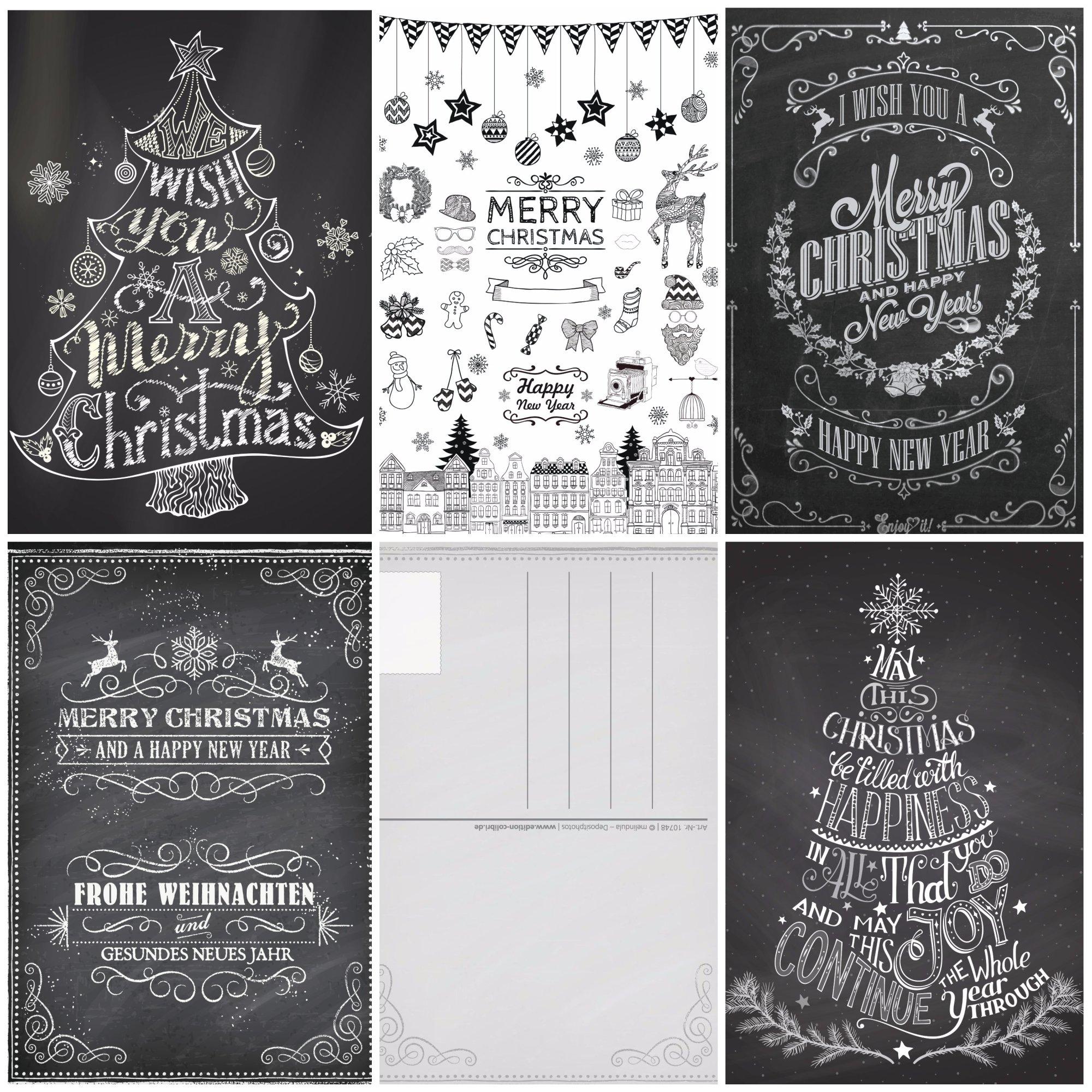 Weihnachtskarten Set Günstig.50 Weihnachtskarten Kreide Nostalgie Iii Grusskartenkaufen De