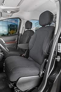 Walser 10535 Autoschonbezug Transporter Passform Stoff Sitzbezug Anthrazit Kompatibel Mit Citroen Berlingo 2 Einzelsitze Vorne Auto