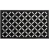 Relaxdays Fußabtreter Gummi HBT: 0,5 x 75 x 45 cm Gummimatte als Fußmatte oder Türvorleger Rutschfest und zuschneidbar als Schmutzfangmatte wetterfest Outdoor Türmatte und Eingangsmatte, schwarz
