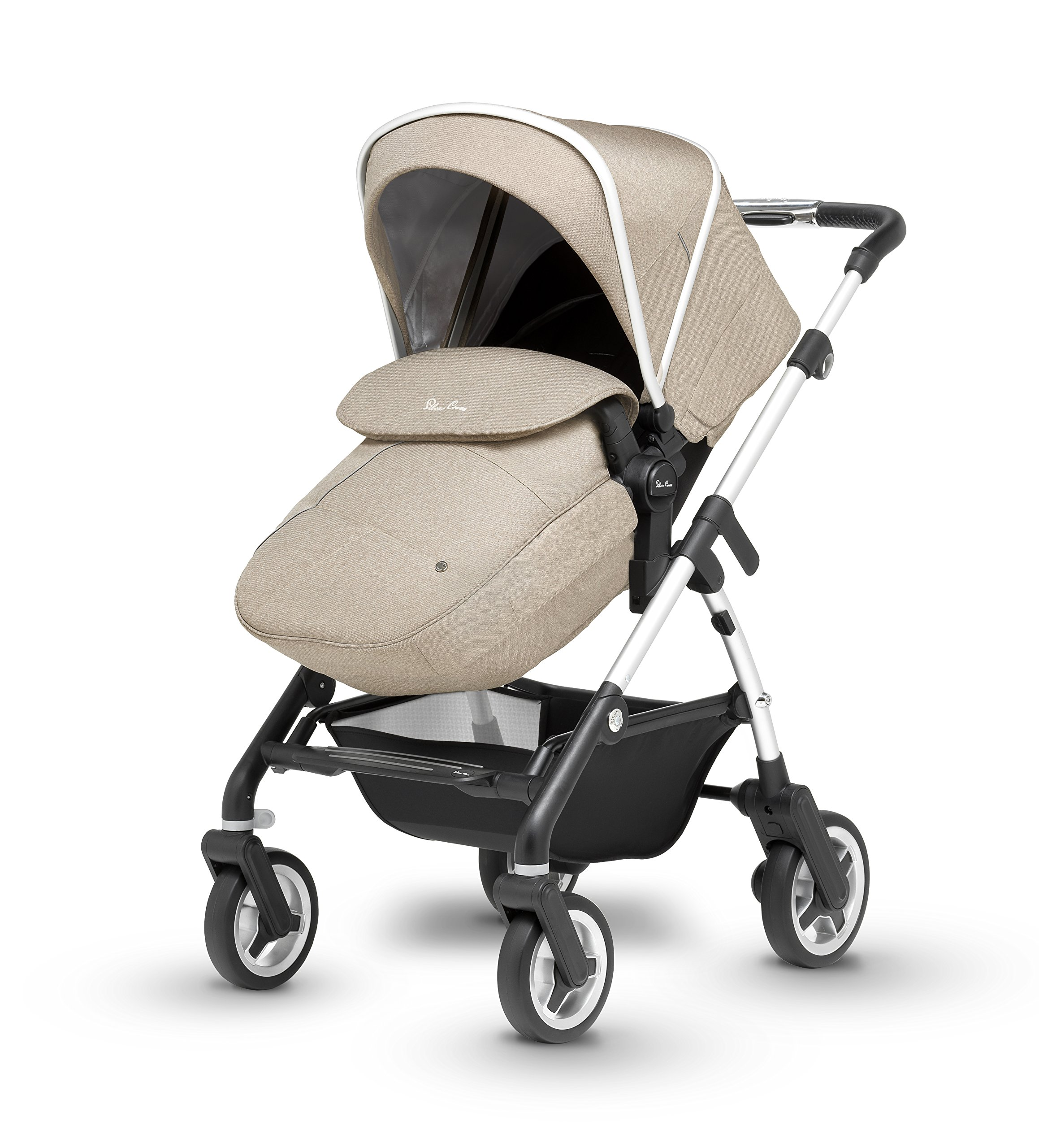 Silver Cross Wayfarer Pushchair and Carrycot, Linen Silver Cross A complete Pram system that includes everything you need from birth to toddler Includes a lie-flat Carrycot for your new born that is suitable for overnight sleeping Includes a fully, reversible Pushchair seat unit, suitable up to 25kg 3