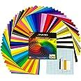 RYVANEL® Pack 74 - 64 feuilles en vinyle adhésif pour cricut (12''x 12'') +10 feuilles de transfert + Ensemble complet d'outi