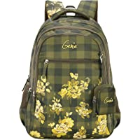 Genie Primrose 27 litres Green School Backpack for Girls (17 inch, 3 Compartments, Water Resistant)