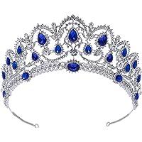 SWEETV Blu Cristallo Corona Regina - Donna Diadema Sposa Nozze, Corona Principessa per Compleanno, Halloween, Natalizia