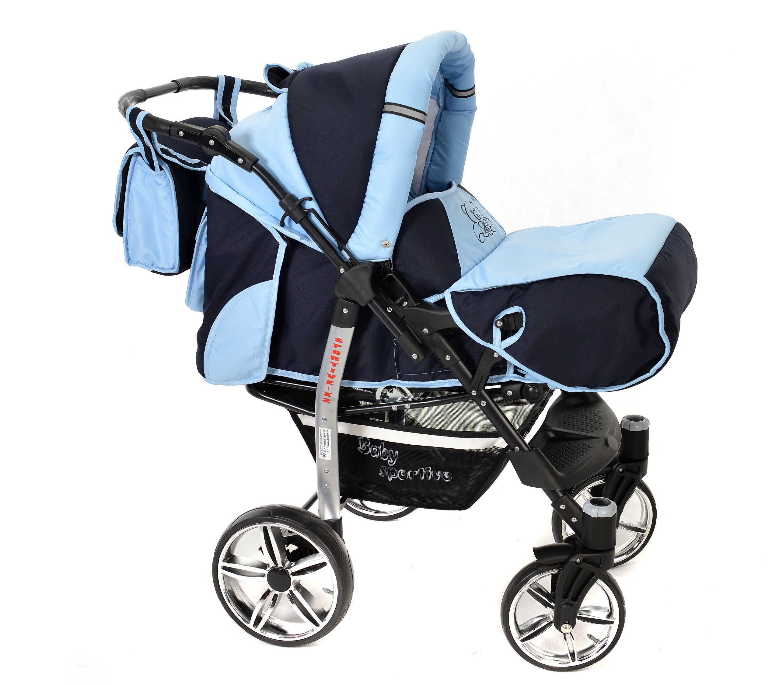 Sportive X2, 3-in-1 Travel System incl. Baby Pram with Swivel Wheels, Car Seat, Pushchair & Accessories (3-in-1 Travel System, Navy-Blue & Blue)  3 in 1 Travel System All in One Set - Pram, Car Carrier Seat and Sport Buggy + Accessories: carrier bag, rain protection, mosquito net, changing mat, removable bottle holder and removable tray for your child's bits and pieces Suitable from birth, Easy Quick Folding System; Large storage basket; Turnable handle bar that allows to face or rear the drive direction; Quick release rear wheels for easy cleaning after muddy walks Front lockable 360o swivel wheels for manoeuvrability , Small sized when folded, fits into many small car trunks, Carry-cot with a removable hood, Reflective elements for better visibility 3