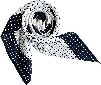 laprée - Sciarpa Donna Seta Sciarpa in Twill di Seta di Alta Qualità 14-Momme Orlato a Mano Polka Dot 90 * 90CM