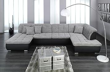 Wohnlandschaft u form  Wohnlandschaft, Couchgarnitur XXL Sofa, U-Form, schwarz/grau ...