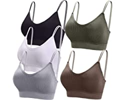 BQTQ 5 Pieces Camisole Bras for Women V Neck Camisole Bralettes Seamless Sleeping Bra with Straps and Removable Pads for Wome