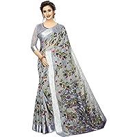 PERFECTBLUE Women's Linen Saree With Unstitched Blouse Piece