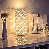 VOLIOUS keramische tafellamp inc. 4 Watt LED peer I decolamp I bedlampje I tafellamp wit I verlichte decoratie (rond)