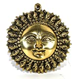 StonKraft Brass Wall Hanging Decor Sun Surya Bhagwan Face Idol Standard , Golden