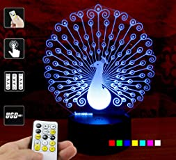 Varna Crafts Lampees 3D Illusion Led Lamp Peacock With 7 Colors Change And Flashing Effect