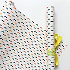 Moustache Gift Wrapping Paper Sheets Pack of 8