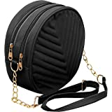 DAHSHA PU Embroidered Leather Latest Stylish Trendy Round Sling Crossbody Bag cosmetic sling bag Bag for Girls and Women Zip