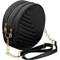 DAHSHA PU Embroidered Leather Latest Stylish Trendy Round Sling Crossbody Bag cosmetic sling bag Bag for Girls and Women…