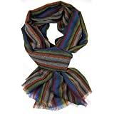 Rotfuchs Bufanda tejida rayas bufanda de moda negro 100% lana (Merino) R-634