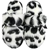 Komyufa Fuzzy Leopard Print Home Slippers for Women with Cute Bow Soft Memory Foam Non-Slip Cozy House Shoes Indoor Outdoor