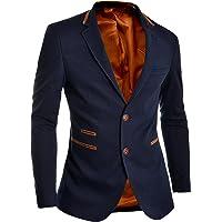 D&R Fashion Mens Blazer Jacket Blue Slim Fit Elbow Patches Smart Casual Sport Coat S 38