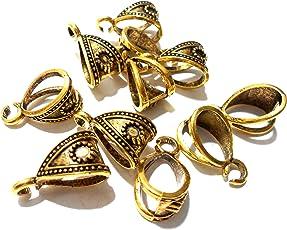 Goelx Antique Golden Bails/Loops for Jewellery Making & Craft Work - Design 8