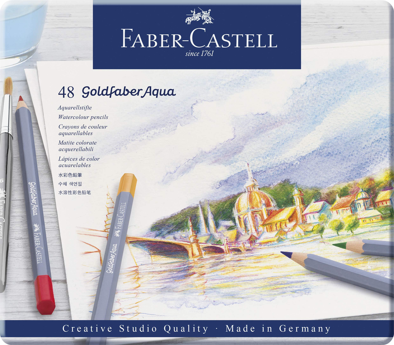 Faber-Castell 114612 – Estuche de metal con 12 ecolápices acuarelables hexagonales Goldfaber Aqua, colores surtidos