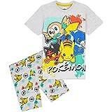 Pokèmon Pijama Niño, Pijamas Niños Cortos Conjunto 2 Piezas, Camiseta Personaje Pikachu, Ropa Niño de Dormir, Regalos Niños N