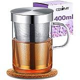 Tazza da The / Tisana con Coperchio e Infusore - Vetro Borosilicato - Grande 400 ml - Con Sottobicchiere in Sughero