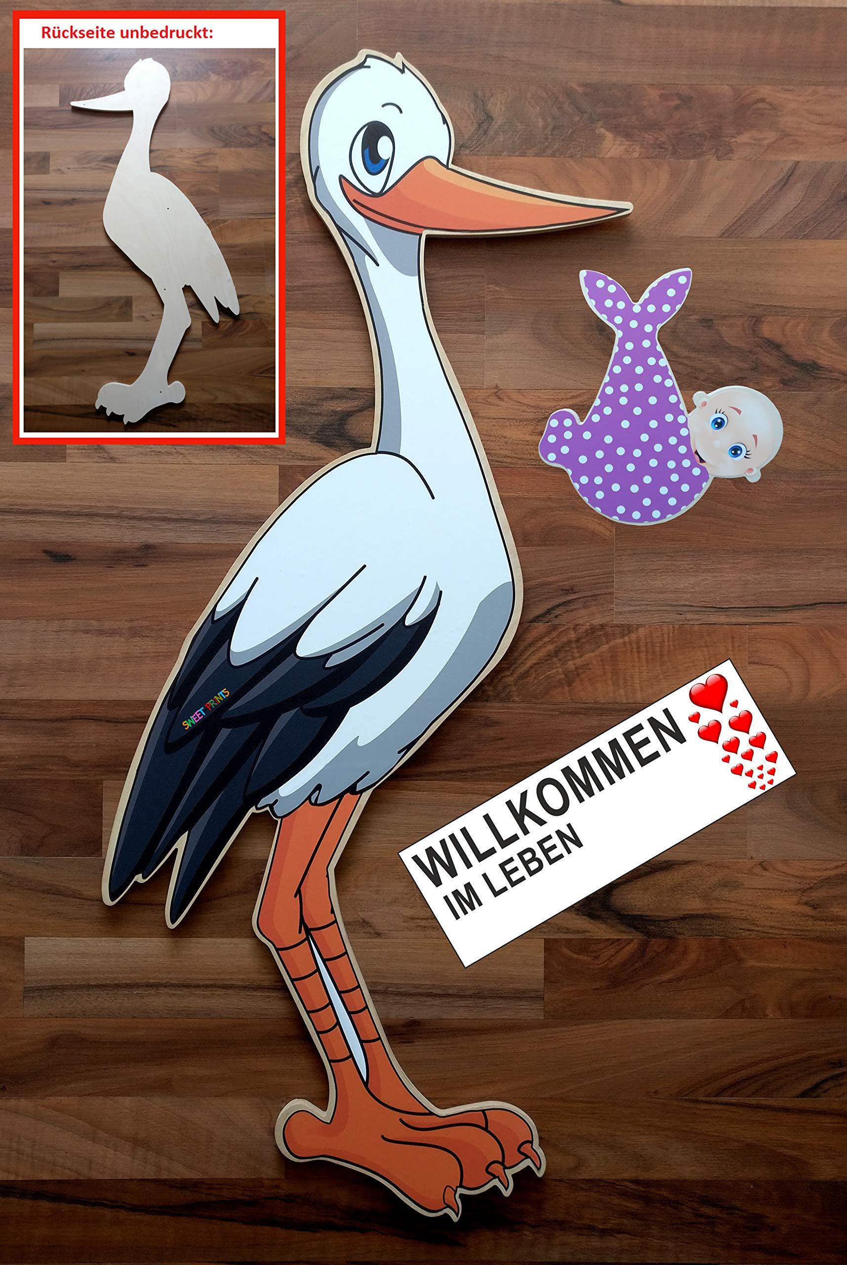 SET - 95 cm Babystorch aus HOLZ & Baby MÄDCHEN & Beschriftungstafel für draußen Geburt Storch-Holz Klapperstorch…