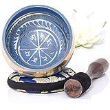 Silent Mind ~ Ensemble de bols de chantant tibétain ~ Aspect Bleu ~ Avec maillet à double surface et coussin de soie ~ Favori