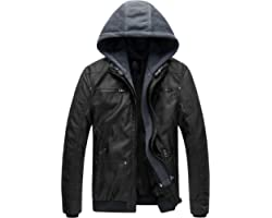 Wantdo Men's Faux Leather Jacket with Removable Hood Motorcycle Jacket Casual Vintage Warm Winter Coat