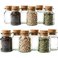 Mambocat Lot de 12 pots à épices réutilisables en verre, capacité : 150 ml, verres ronds avec bouchon en liège, haute…