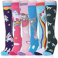 Herhorebo - Calzini alti al ginocchio, 6 paia di calzini con motivo animale, in cotone caldo, per bambini