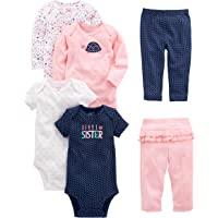 Simple Joys by Carter's 6-Piece Bodysuits (Short Long Sleeve) and Pants Set Bébé Fille, Lot de 6