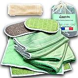 Kit Premium de 10 Chiffons Bambou Microfibres + 1 Sac à linge, Lavettes, Lingettes, Eponges Lavables-Nettoyer Sans Traces Vit