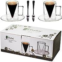 2x verres à double paroi de 70 ml et 2 cuillères, un design moderne pour votre espresso - design exclusif, cadeau…