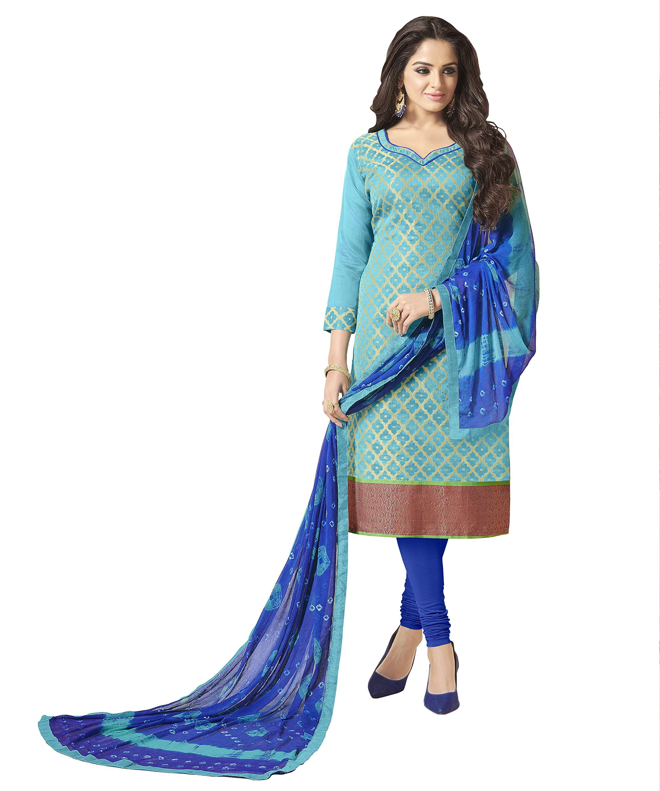 Viva N Diva Salwar Suit Dupatta For Women S Sky Blue Banarasi Art