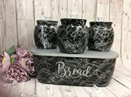 kilner tea coffee sugar 0.85 litre canister jars and bread bin marble effect