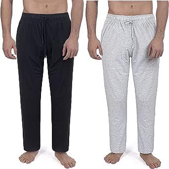 2 Pack Mens Plain Pyjama Lounge Bottoms Pants Soft Jersey 100% Soft Cotton